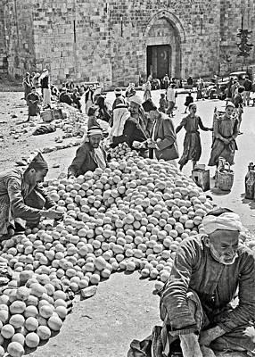 Photograph - Oranges Vendors In Jerusalem 1942 by Munir Alawi