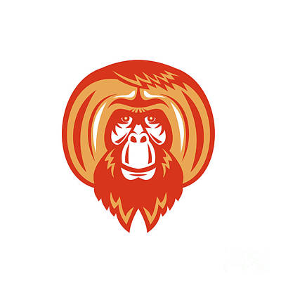 Orangutan Digital Art - Orangutan Bearded Front Retro by Aloysius Patrimonio