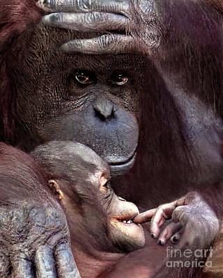 Orangutan Love Art Print by Jennie Breeze
