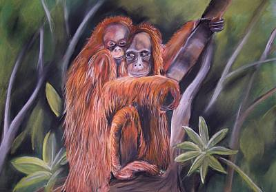 Poaching Painting - Orangutan Mum And Bub  by Cynthia Farr