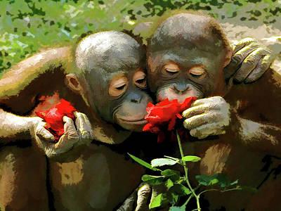 Orangutan Painting - Orangutan Pals Examining Flowers by Elaine Plesser