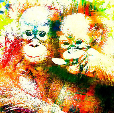 Nature Lover Mixed Media - Orangutan by Stacey Chiew