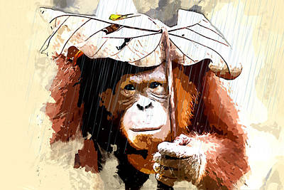 Orangutan Painting - Orangutan With Leaf Umbrella by Elaine Plesser