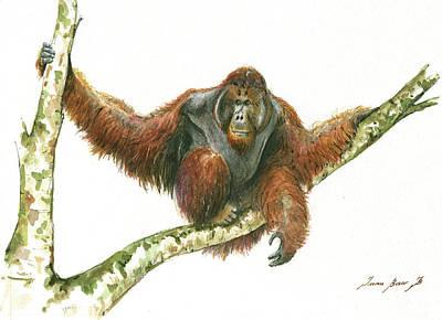 Orangutan Painting - Orangutang by Juan Bosco