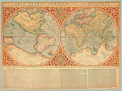 Painting - Orbis Terrae Compendiosa Descriptio, Map Of World Ca 1637 by Vintage Printery