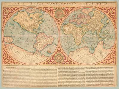 Photograph - Orbis Terrae Compendiosa Descriptio  Quam Ex Magna Universali Gerardi Mercatoris Domino Richardo  by Paul Fearn