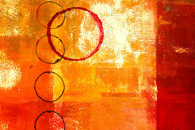 Cadmium Red Painting - Orbit Abstract by Nancy Merkle