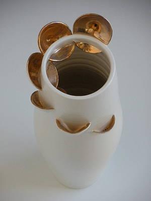 Ceramic Mixed Media - Orbital Vases Detail by Katherine Dube