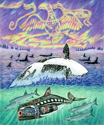 Aleut Drawing - Orca Dreams by Tim McCarthy