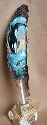Orca Mixed Media - Orca Painted On Feather by Linda Nielsen