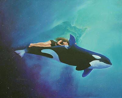 Orca Painting - Orca Rider by Cecilia Brendel