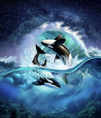 Wet Digital Art - Orca Wave by Jerry LoFaro