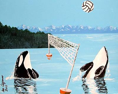Painting - Orca Whale Volleyball by Teo Alfonso