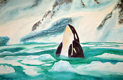 Peace Painting - Orcas Arctic Ice by Ken Figurski