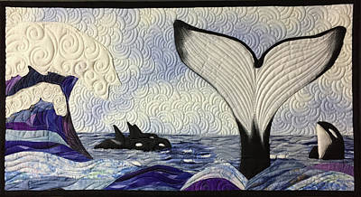 Tapestry - Textile - Orcas At Play by Jo Baner