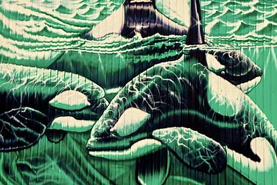 Photograph - Orcas Campbell River Mural by Artist Unknown