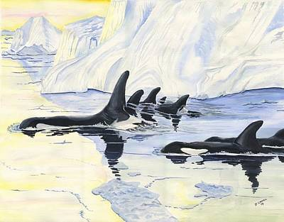 Digital Art - Orcas by Darren Cannell