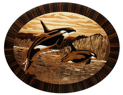Marquetry Painting - Orcas by Grzegorz Czarncki