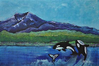 Painting - Orcas In Puget Sound by Laurie Maves ART
