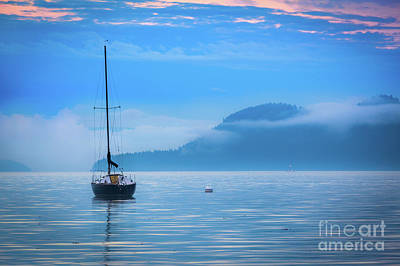 Misty Morning Photograph - Orcas Sailboat by Inge Johnsson