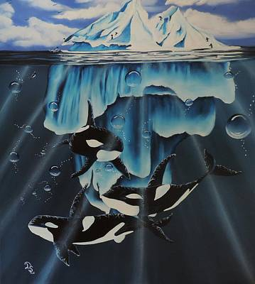 Art Print featuring the painting Orcas Versus Glacier by Dianna Lewis