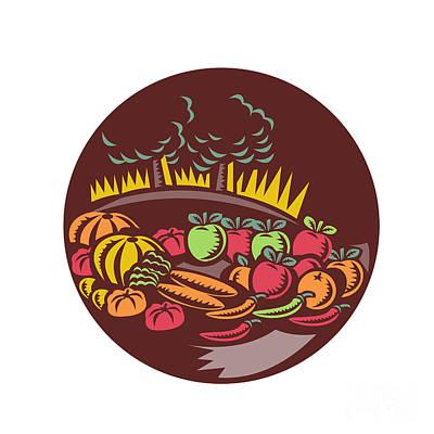 Orchard Crop Harvest Circle Woodcut Art Print by Aloysius Patrimonio