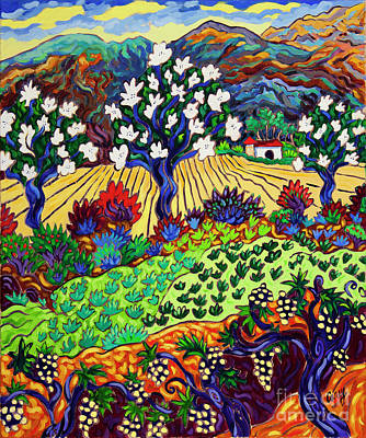 Painting - Orchard Dance Fruit And Flowers by Cathy Carey