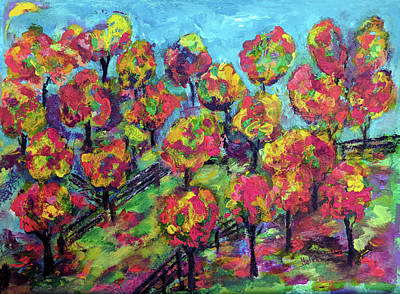 Painting - Orchard In Fall Colors by Haleh Mahbod