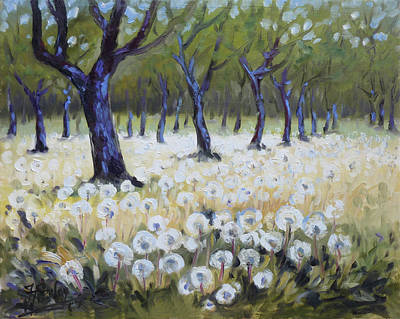 Dandelion Painting - Orchard With Dandelions by Irek Szelag