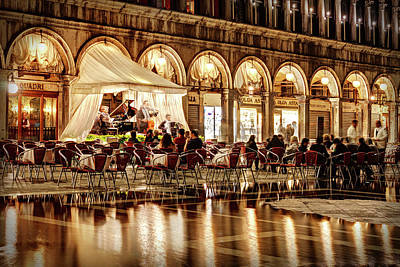 Quadri Photograph - Orchestra On Piazza San Marco - Venice by Barry O Carroll