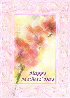 Photograph - Orchid Abstract Happy Mothers' Day Card by Barbie Corbett-Newmin