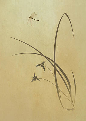 Digital Art - Orchid And Dragonfly by IM Spadecaller