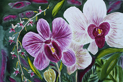 Art Print featuring the painting Orchid At Aos 2010 by Donna Walsh
