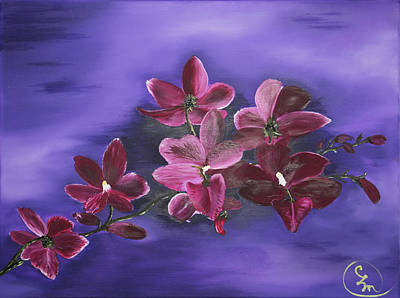 Painting - Orchid Blossoms On A Stem by Stephen Daddona