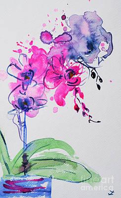 Painting - Orchid Improvisation by Zaira Dzhaubaeva