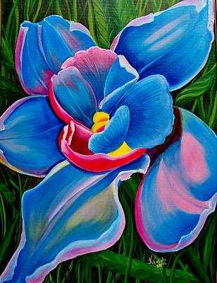 Painting - Orchid In Blue by Kathern Welsh