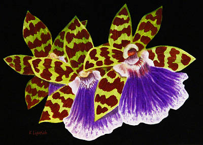 Art Print featuring the painting Orchids - Jumping Jacks With Black Background by Kerri Ligatich