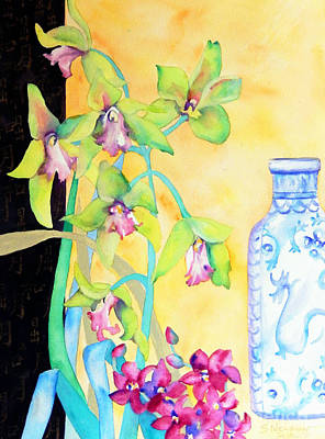 Orchids And Blue Vase Original by Sharon Nelson-Bianco