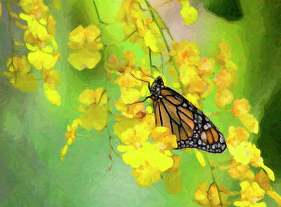 Digital Art - Orchids And Butterfly Painting by Jill Lang