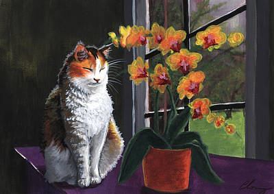 Painting - Calico Cat With Orchids by Long Studios