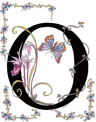 Orchids And Common Opal Butterfly Original by Stanza Widen