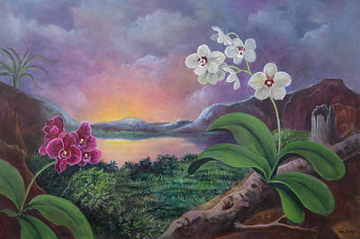 Orchids And Mystery Art Print by Randy Burns
