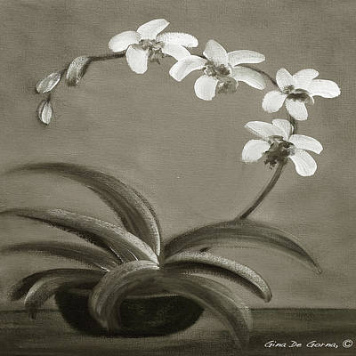 Painting - Orchids In Black And White by Gina De Gorna