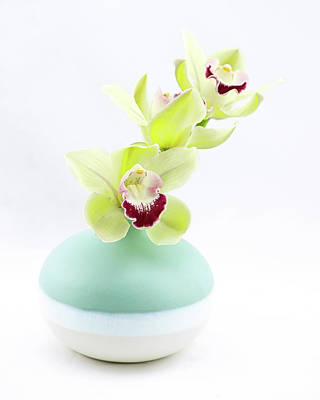 Photograph - Orchids In Blue Jar by Nancy Kirkpatrick