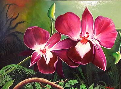 Painting - Orchids In The Night by Owen Lafon