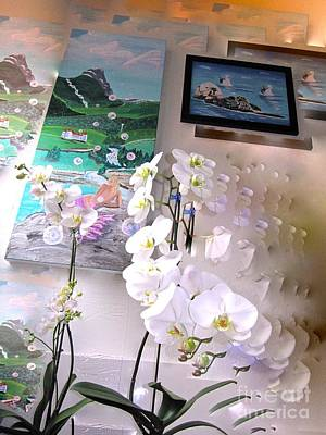 Painting - Orchids Mermaids Otters Oh My by Phyllis Kaltenbach