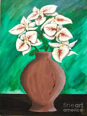 Painting - Orchids With Terracotta Vase by John Lyes