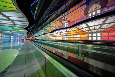Photograph - Illuminated Underpass, Chicago Airport by Judith Barath