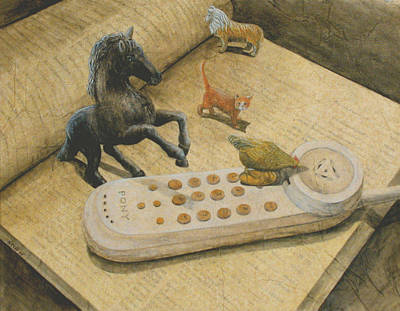 Ordering Pizza Art Print by Sandy Clift