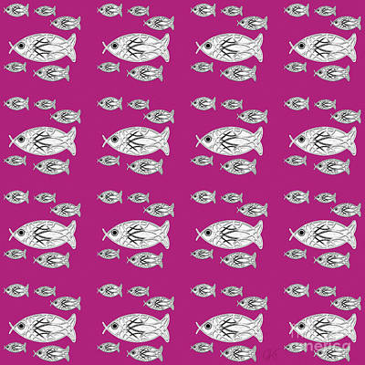Digital Art - Orderly Formation - School Of Fish - Magenta by Gabriele Pomykaj